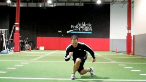 Backward Crossing Lunge (onto right)